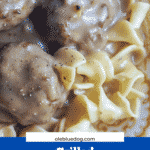 meatballs and gravy on egg noodles