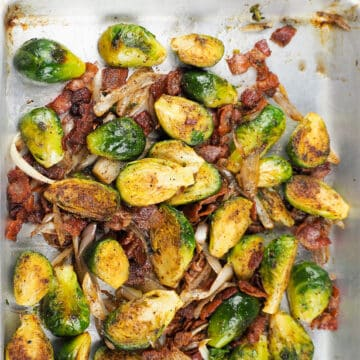 bacon brussel sprouts on baking sheet