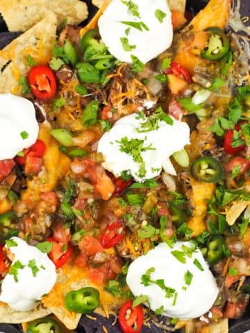 overhead view of nachos