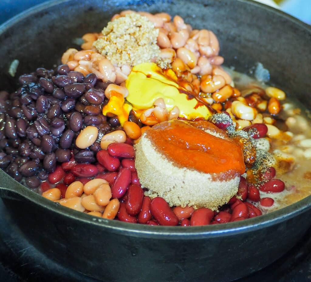 bean ingredients in pot