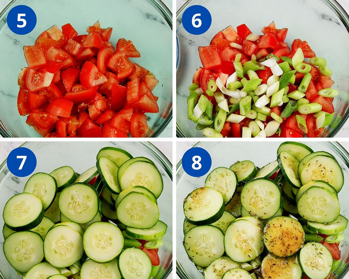 process of combining all ingredients to make the salad