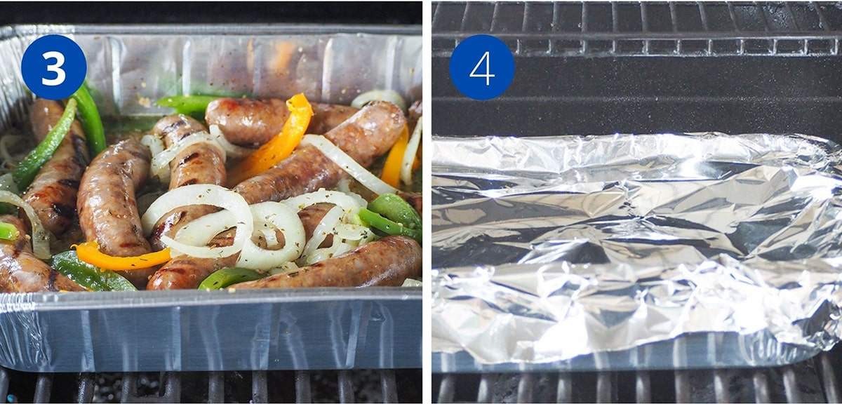 sausages in foil pan on grill