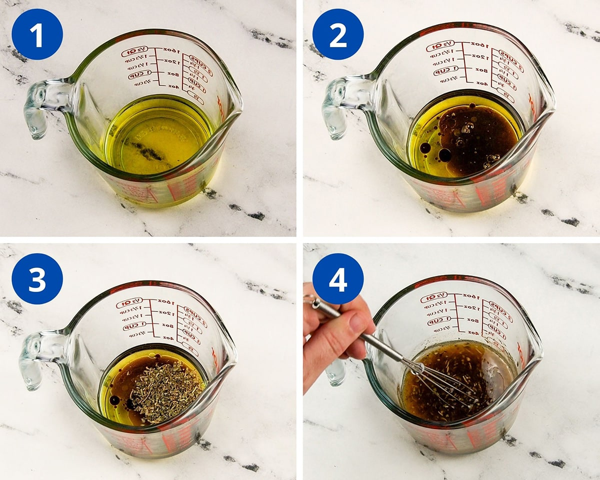 pictures showing the steps to make the salad dressing in measuring cup
