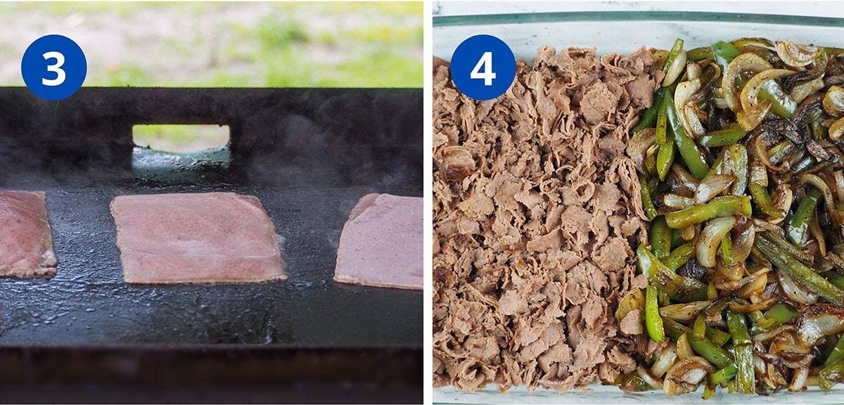 cooking meat steaks on blackstone