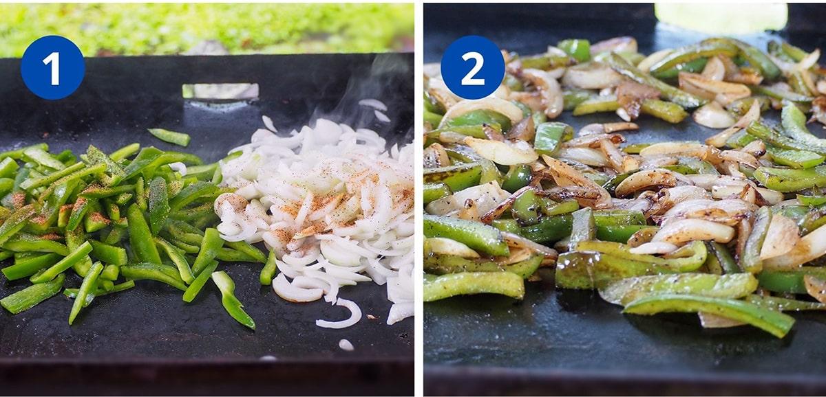 vegetables cooking on flat top griddle