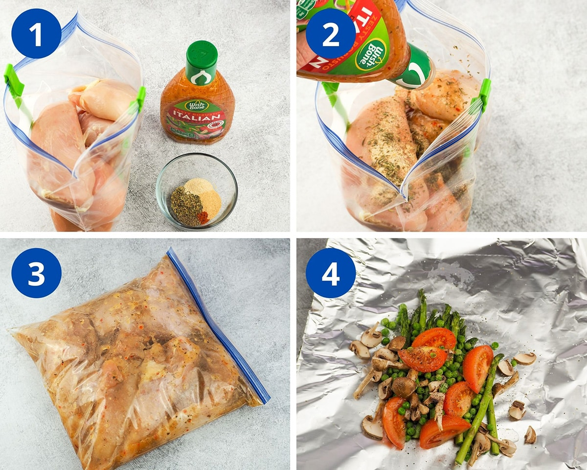 process shots of marinating chicken and prepping vegetable packets