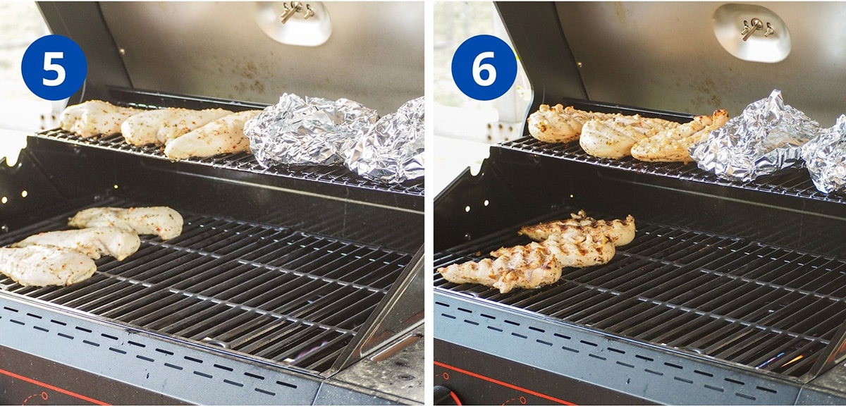 Italian marinated chicken cooking on grill with vegetable packets