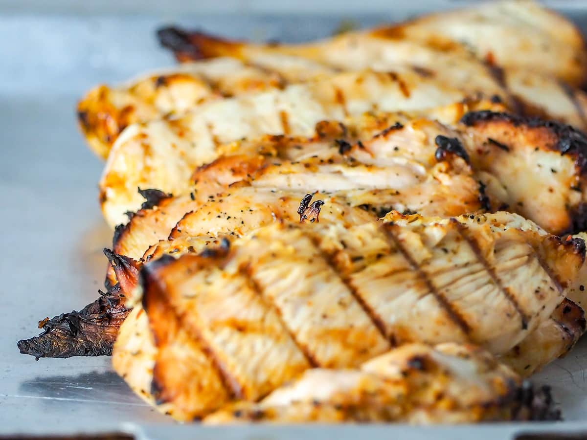 grilled chicken on aluminum tray