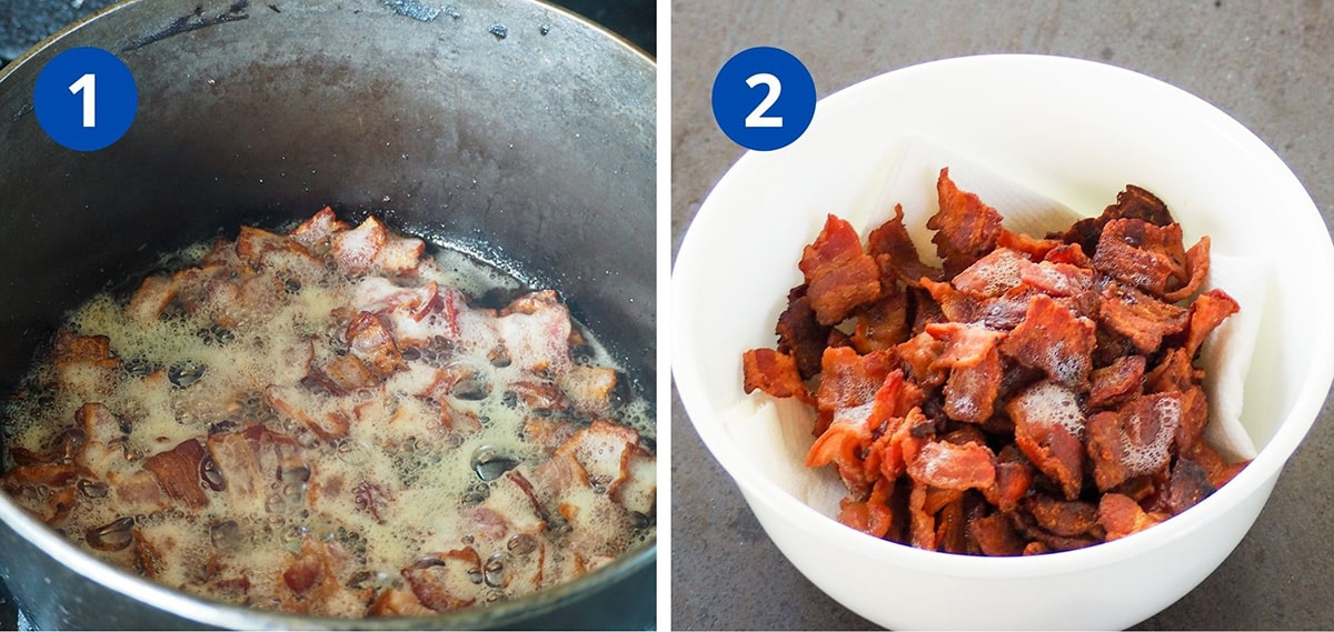 bacon cooking in dutch oven and crispy bacon in white bowl