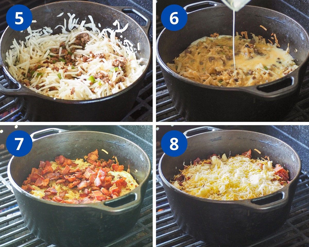 finishing up the casserole and adding the toppings for cooking